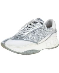 Jimmy Choo White/silver Leather And Glitter Raine Low Top Sneakers