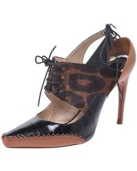 Dior Leopard Print Pony Hair And Black Croc Embossed Leather Lace Up Pointed Toe Court Shoes Size 39