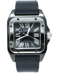 Cartier Black Ceramic Santos 100 Satin Strap Men's Watch 33x44mm