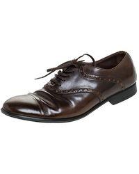 Dolce & Gabbana Brown Leather Bordeaux Cap Toe Oxfords