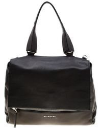 Givenchy Black Leather Pandora Flap Top Handle Bag