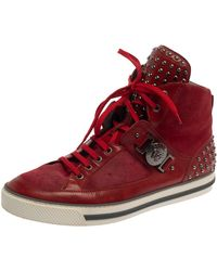 Versace Red Suede And Leather Medusa Embellished High Top Sneakers