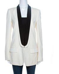 Stella McCartney Ivory Wool Contrast Lapel Detail Tuxedo Jacket - White