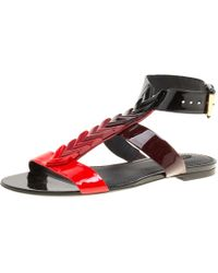 Louis Vuitton - Tri Color Gradient Patent Leather Bright Shades Flat Gladiator Sandals - Lyst