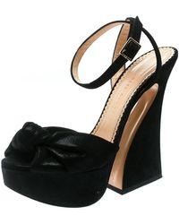 Charlotte Olympia Black Suede Vreeland Ankle Strap Platform Sandals