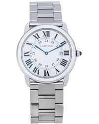 Cartier Silver Stainless Steel Ronde Solo 3603 Wristwatch 36 Mm - Metallic