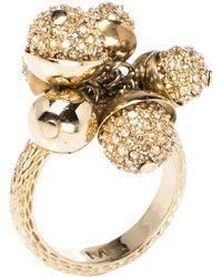 Dior Mise En Crystal Embellished Gold Tone Ring - Metallic