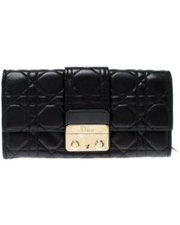 Dior Black Cannage Quilted New Lock Wallet On Chain