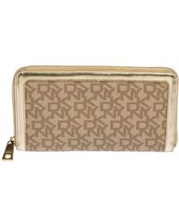 DKNY Beige Signature Coated Canvas And Leather Zip Around Wallet - Natural