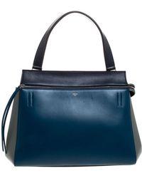 Celine Tricolor Leather Medium Edge Bag - Blue