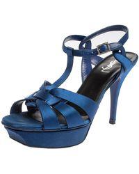 Saint Laurent - Blue Satin Tribute Ankle Strap Sandals - Lyst