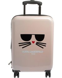 Karl Lagerfeld Light Pink Plastic Kat Expandable 4 Wheel Luggage