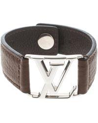 Louis Vuitton - Logo Leather Silver Tone Wide Bracelet 21cm - Lyst