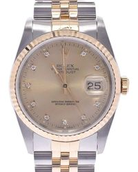 Rolex Champagne Diamonds 18k Yellow Gold And Stainless Steel Datejust 16233g Men's Wristwatch 36 Mm - Metallic