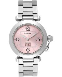 Cartier Pink Stainless Steel Pasha C De Automatic W31058m7 Women's Wristwatch 35 Mm
