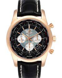 Breitling Black 18k Rose Gold Transocean Chronograph Unitime Rb0510 Wristwatch 46 Mm