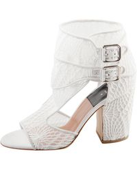 Laurence Dacade White Lace And Suede Rush Macrame Cut Out Open Toe Booties