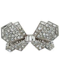 Chanel Cc Crystal Bow Silver Tone Barrette Hair Clip - Metallic
