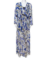 Roberto Cavalli Blue Feather Print Silk Maxi Kaftan