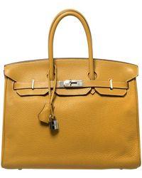 Hermès Curry Clemence Leather Palladium Hardware Birkin 35 - Brown