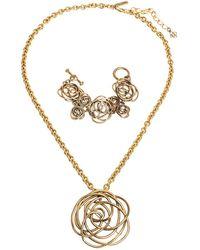 Oscar de la Renta Flower Motif Gold Tone Bracelet & Pendant Necklace Set - Metallic