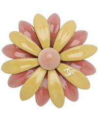Chanel Yellow/pink Enamel Baroque Brooch