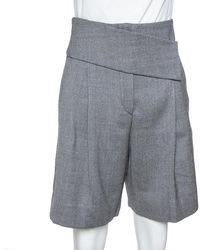 Emporio Armani Grey Wool & Cashmere Pleated Shorts