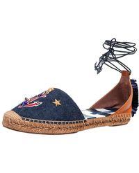 Dolce & Gabbana Blue/tan Denim And Leather Embellished Ankle Wrap Flat Espadrilles