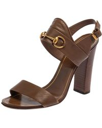Gucci Brown Leather Horsebit Slingback Block Heel Sandals