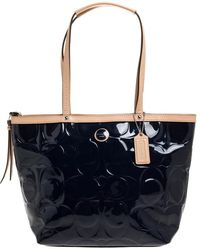 COACH Blue/beige Patent Leather Peyton Tote