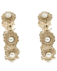 Chanel - Cc Floral Faux Pearl Embedded Tone Hoop Earrings - Lyst
