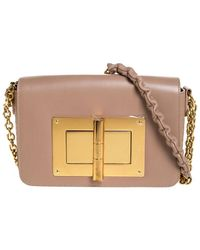 Tom Ford Nude Beige Leather Small Chain Natalia Shoulder Bag - Natural