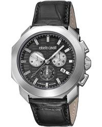 dc6cc2f33a623 Roberto Cavalli Swiss Chronograph Black Calfskin Leather Strap Watch, 44mm