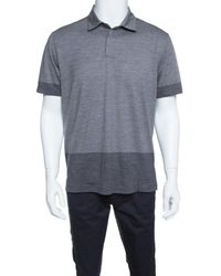 Z Zegna Techmerino Gray Contrast Trim Polo T-shirt