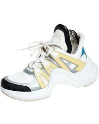 Louis Vuitton White/yellow Leather, Monogram Canvas And Mesh Lv Archlight High Top Trainers Size 36.5