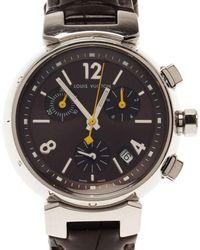 Louis Vuitton - Brown Stainless Steel Tambour Women's Wristwatch 34mm - Lyst