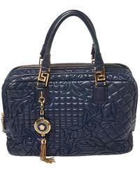 Versace Navy Blue Leather Demetra Vanitas Satchel