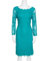 Diane von Furstenberg - Green Zarita Long Sleeve Lace Dress M - Lyst