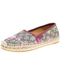 Gucci Multicolour GG Floral Canvas Slip On Espadrille Flats
