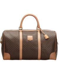 Celine Brown Macadam Canvas Leather Travel Bag