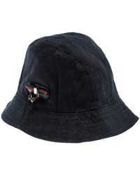 Gucci Black GG Canvas Bow Bucket Hat