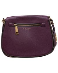 Marc Jacobs Purple Leather And Canvas Recruit Nomad Saddle Shoulder Bag