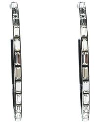 Chanel - Crystal Coated Metal Long Hoop Earrings - Lyst