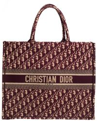 Dior Burgundy Oblique Canvas Book Tote - Red