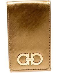 Ferragamo Gold Leather Iphone 4 Case - Metallic
