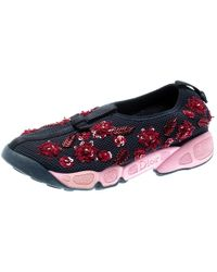 Dior - Blue Mesh Fusion Floral Sequins Embellished Slip On Sneakers Size 34.5 - Lyst