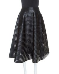 Céline Black Ribbon Striped Satin And Sheer Flared Midi Skirt S