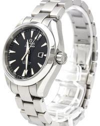 Omega Black Stainless Steel Seamaster Aqua Terra Women's Wristwatch 34mm