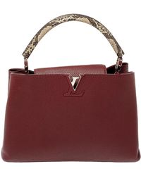 Louis Vuitton Bordeaux Taurillon Leather And Python Capucines Mm Bag - Multicolour