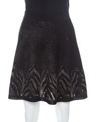 Roberto Cavalli Black And Gold Knit Mini A-line Skirt